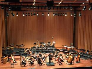 """Chloë conducts ANU Chamber Orchestra performing, """"Binsfeld's Demons"""", October 2014. Photo by Alexander Hunter"""