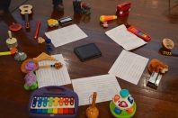 Toy Ensemble set up at Drill Hall Gallery, September 2014. Photo by Alexander Hunter.