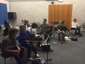The NOISE workshopping pieces with ANU student composers, April 2015. Photo by Alexander Hunter