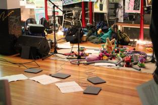 Setting up the EMS Toy Ensemble and iPad Ensemble at the You Are Here festival, March 2015.