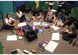 EMS Toy Ensemble rehearsal. Photo by Charles Martin. March 2015.